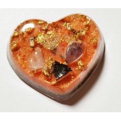 Orgonite petit coeur orange